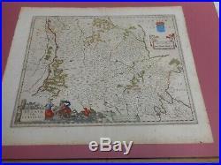 100% Original Large Paris La Beavsse France Map By J Blaeu C1631 Hand Coloured