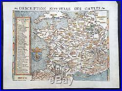 1545 Sebastian Munster & Claude Ptolemy Original Antique Map of France