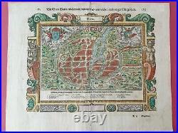 1550 Paris France Munster Original Colored Woodcap Map View Birdview 42 X 33