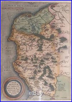 1570s Hand-Colored Map, France & Belgium Coastline, Ortelius