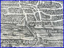 1572 Blois (france) Braun & Hogenberg 16e Century Large & Rare Antique View