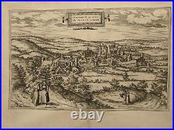 1577 Bird's-eye view of Blâmont, France by Braun and Hogenberg