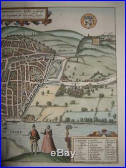 1581, Xl-plan/map, Rouenrhotomagusnormandy, Franceseinebraun+hogenberg