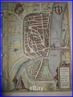 1581xl-plans/maps Grenoble+romans, Franceisere-dauphine-auvergnebraun+hogenberg