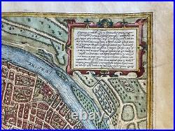 1593 Lyon Lyons Lugdunum Braun Hogenberg Hoefnagel Fine Color View France Rare