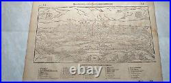 1598 Munster Antique Map Birds Eye View of the city of Poitiers in Poitou France