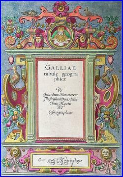 1606 Gerard Mercator Original Antique Atlas Geographia, Title Page of France