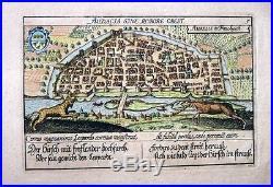 1627 Meisner (Braun & Hogenberg) ORLÉANS Town View France STAG CHARGING LEOPARD