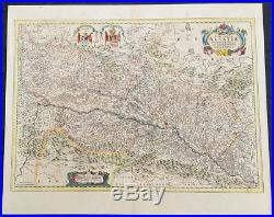 1646 Jan Jansson Antique Map of the Alsace region of France Germany & Swiss