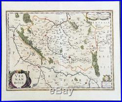 1646 Jan Jansson Antique Map the County of Vermandois, Picardy, Northern France