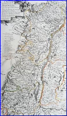 1666 Nicolas Sanson Large Antique Map of the Alsace Region of France & Germany