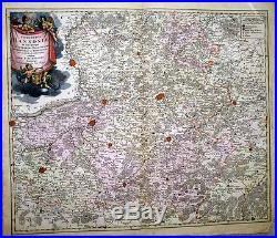 1716 Homann (De Wit) Map HAINAUT France Belgium Mons FINE MARTIAL CARTOUCHE