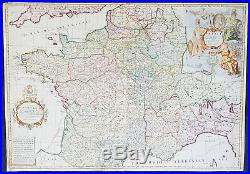 1720 John Senex Large Antique Pre Revolutionary Map of France in Provinces