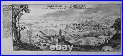 1720 Marseille vue gravure estampe France engraving Bodenehr Kupferstich