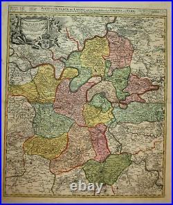 1720 Paris Isle de France carte map Karte Homann engraving gravure Kupferstich