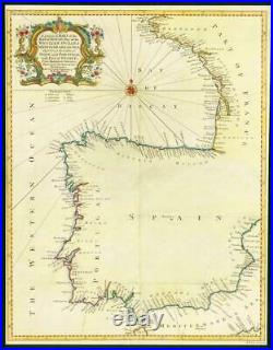 1746 Antique Map Spain Portugal France BAY OF BISCAY Western Ocean SEA (LM6)