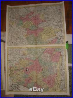 1750s, XXL-2MAPS-SCHWABEN, BADEN Württemberg, BAVARIA, STUTTGART, AALEN, ULM, GERMANY