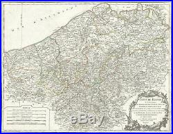 1752 Vaugondy Map of Flanders Belgium, France, and the Netherlands