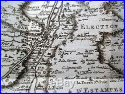 1753 Carte Mineralogique ESTAMPES France 27x28cm. Guettard Geology Map
