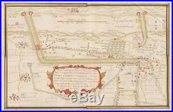 1770 Seven YearsâÃô War Manuscript Map of Dunkirk, France