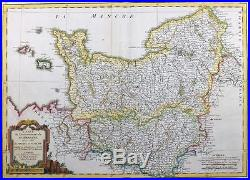 1771 Antique Map FRANCE region of NORMANDY BRETAGNE PICARDY Channel Islands