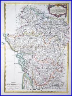 1771 Antique Map FRANCE regions of POITOU TOURAINE ANJOU & SAUMUR by Bonne