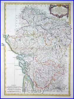 1771 Antique Map FRANCE regions of POITOU TOURAINE ANJOU & SAUMUR by Bonne (DR)