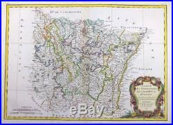 1771 Antique Map of FRANCE Regions LORRAINE & ALSACE Champagne Souabe