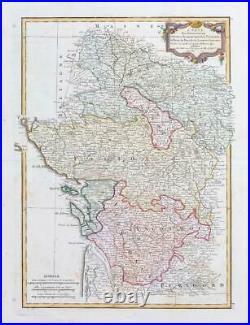 1771 France Map D'ANJOU SAUMUROIS TOURAINE PORROC du pays DANNIS Wine Region JM