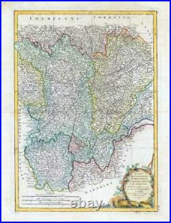 1771 Large Map FRANCE French Regions BURGUNDY BOURGOGNE LYONNOIS by Bonne (JM)