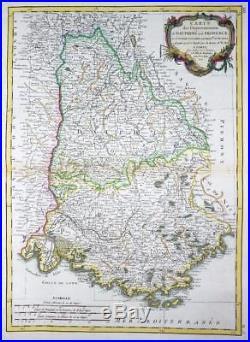 1771 Original Antique Map FRANCE regions of DAUPHINE & PROVENCE by Bonne
