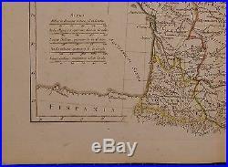 1779 Dated Rigobert Bonne Map Ancient France Aquitania Galliae Hand Coloured