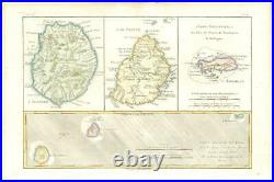 1780 Antique Map ISLE DE FRANCE REUNION MAURITIUS BOURBON DENIS Bonne (BMii/12)
