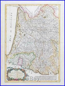 1785 France Map GUIENNE GASCOGNE BEARN BASSE NAVARRE Gironde Gascony WINE (JM)