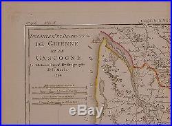 1790 Dated Rigobert Bonne Map France Depts De Guienne Gascogne Hand Colour
