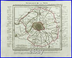 1802 Antique map department the Seine (Paris) of Chanlaire. France