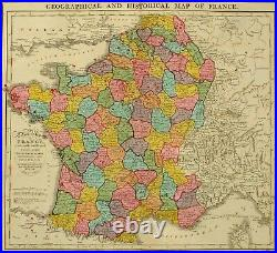 1813 LARGE HAND COLOURED MAP HISTORICAL FRANCE TREATY of PARIS BATTLE NAVY