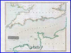 1814 Large Map of THE BRITISH CHANNEL SE & SW England + France Thomson (LM10)