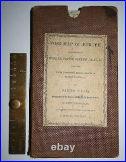 1846 Post Map of Europe England France Germany Italy Railways Roads Jame WYLD