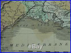 1850 Large Antique Hand Coloured Map France In Departments Charente Garonne