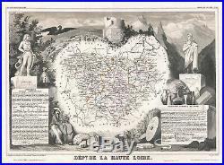 1852 Levasseur Map of the Department De La Haute Loire, France (Loire Valley)