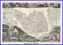 1852 Levasseur Map of the Department De La Vendee, France (Fiefs Vendéens Wine)