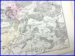 1853 Antique French Map The Palace of Versailles France Hand Coloured Engraving