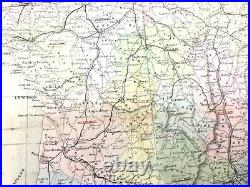 1853 Antique Map of France Departments Provinces Large Hand Coloured Engraving