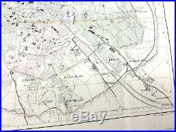 1853 Antique Map of Paris France City Street Plan Large Hand Coloured Engraving