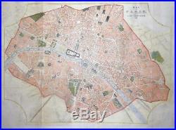 1855 FRANCE LARGE Antique Map MAP OF PARIS LATEST IMPROVEMENTS Colour (LM22)