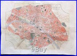 1855 FRANCE LARGE Antique Map/Print MAP OF PARIS LATEST IMPROVEMENTS Colour