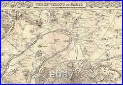 1855 Large Antique Map-colton- Environs Of Paris