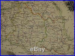 1856 Map France Department De L'aveyron Espalion Milhau Rodez Franche