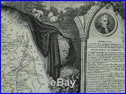 1856 Map France Department De L'indre Chateauroux Le Blanc La Chatre